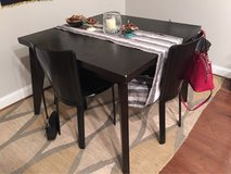 West Elm Table and 4 black leather chairs in Bolling AFB, DC
