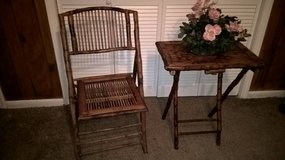 VINTAGE BAMBOO FOLDING CHAIR AND FOLDING TABLE in Keesler AFB, Mississippi