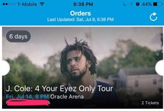 j cole tickets! Friday, July 14th in Fairfield, California