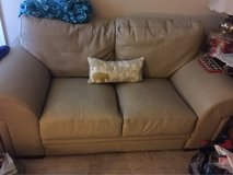Leather Beige Ivory Love Seat Couch in Vacaville, California