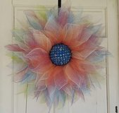 Flower deco mesh door wreath handmade in Aurora, Illinois