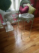 Metal table stands in Naperville, Illinois