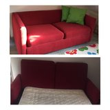 Red pull out couch w/ mattress in Stuttgart, GE