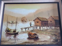 P. Wong Asian Junk Boat painting in Westmont, Illinois