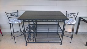 Wrought Iron kitchen island with stools and bakers rack (4 pcs) in Fort Benning, Georgia