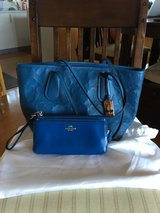 Beautiful Blue Coach Purse and Matching Clutch Wallet in Okinawa, Japan