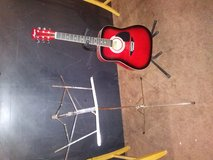 Harmony Acoustic Guitar with musical stand in Bolingbrook, Illinois