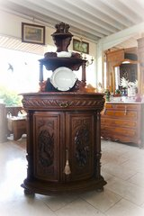 superb antique corner hutch with three dimensional carvings in Stuttgart, GE