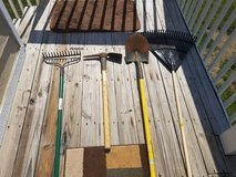 Yard tool set with stand and gloves in Kansas City, Missouri