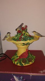 Lenox Bird Water Fountain with Cardinals in Yorkville, Illinois