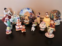 Disney figurines collectibles, Lion King plate and Beauty/Beast Snow Globe from 1989-1994 in Chicago, Illinois