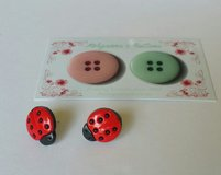 Lady Bug Button Earrings in CyFair, Texas