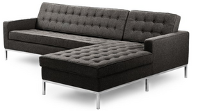 Florence Knoll Style Sectional Right, Charcoal Cashmere Wool in Huntsville, Alabama