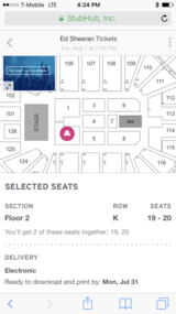 2 FLOOR seat Ed Sheeran Concert Tickets on 01 Aug 2017 in Fairfield, California