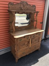 Oak Heavy Carved Sideboard Buffet/Beveled Mirror in Camp Lejeune, North Carolina