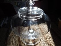 POTTERY BARN CLEAR GLASS PEDASTAL BOWL W/LID -- COMPOTE, DISPLAY FAIRY GARDEN in Aurora, Illinois