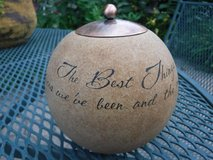 Comfort Candle ceramic globe w/copper top & lovely wording ~ The Best Things in Life are the Peo... in Aurora, Illinois