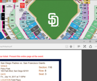 Giants VS Padres - FRI night - 2 tickets - $100 (North County) in Oceanside, California