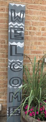 6' Chevron Gray Welcome Patio/Porch Sign in Naperville, Illinois
