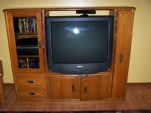 "home entertainment center with working panasonic 36"" tv in Algonquin, Illinois"