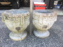 "Set of Cement - Concrete Planters with Grape Design 13"" high/9.5"" wide in Fort Benning, Georgia"