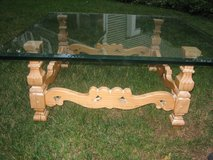 french country glass and wood coffee table in St. Charles, Illinois
