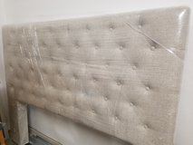 Modern tufted beige linen headboard in Summerville, South Carolina
