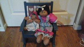 NEW! Hand Sewn Afro American Baby Dolls w/Wooden Rocking Chair in Aurora, Illinois