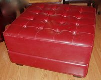 Dark red large faux leather ottoman in Elgin, Illinois