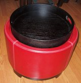 Red faux leather ottoman with serving tray top in Elgin, Illinois