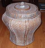 Large Oriental styel detailed basket with top in Elgin, Illinois
