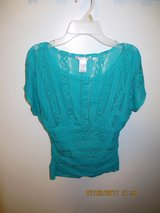 Junior's Free 2 Luv Beautiful Teal Lace Blouse - Size Medium in Naperville, Illinois