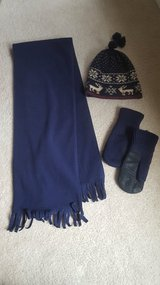 Navy Fleece Scarf, Mittens, and Wool Hat in St. Charles, Illinois
