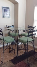 Pier One Pub Table with glass top w/ chairs in Watertown, New York