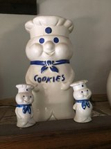1973 Pillsbury Dough Boy Cookie Jar with Matching Salt & Pepper Shakers in Westmont, Illinois