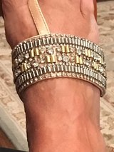 Jessica Simpson Flat silver & gold Sandles in Fort Campbell, Kentucky