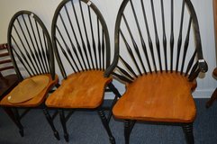 Three Black and Natural Winsor Chairs in Warner Robins, Georgia