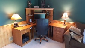 Wood corner desk with hutch and chair in Joliet, Illinois