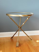 Kirkland's Gold Round Arrow Table accent table side table Retails $79.99 in Sandwich, Illinois
