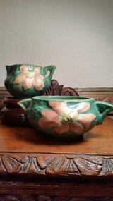 Gorgeous Vintage Roseville Green Clematis Cream and Sugar Set in Sacramento, California