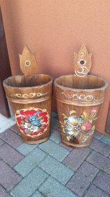 2 wooden umbrella holder painted in Ramstein, Germany