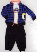 Just One You 18 Months 3-Piece Striped Penguin Fleece Set Baby Boy Clothes in Schaumburg, Illinois
