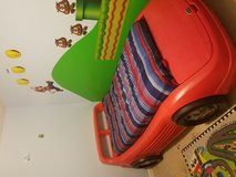 Twin race car bed with toy box in Fort Knox, Kentucky