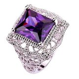 ***BRAND NEW***Solitaire Sterling Silver Gorgeous10mm*13mm Emerald Cut Amethyst Ring in Kingwood, Texas