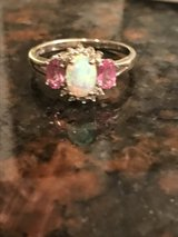 Opal/Pink tourmaline/diamond accented ring 10k white gold in Clarksville, Tennessee