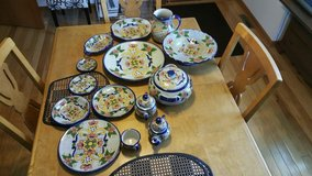 Talavera tableware set made in Puebla, Mexico in Orland Park, Illinois