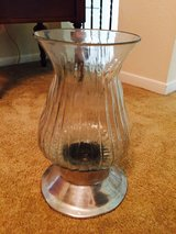 Glass and pewter hurricane vase in Kingwood, Texas