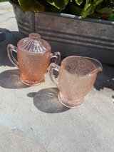 pink depression glass cream & sugar in Plainfield, Illinois