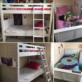 White solid wood bunk bed (twin) w/ladder & mattresses in Fort Hood, Texas