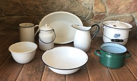 Old enamelware pots, pitcher, bowls in Lemoore NAS, California